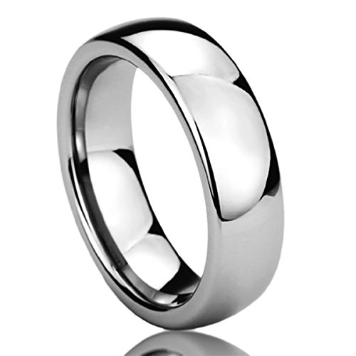 (Prime Pristine 6MM Stainless Steel Mens Womens Rings High Polished Classy Domed Comfort Fit Wedding Bands SZ: 10)