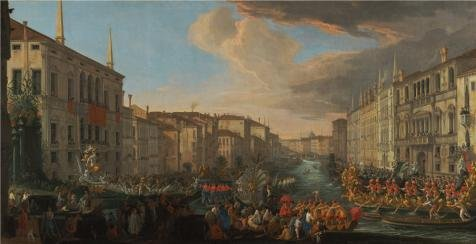 Croscill Home Fashions Iris (Oil Painting 'Regatta On The Grand Canal In Honor Of Frederick IV, King Of Denmark, 1711 By Luca Carlevarijs' 12 x 23 inch / 30 x 59 cm , on High Definition HD canvas prints, Home Theater, Kid decor)
