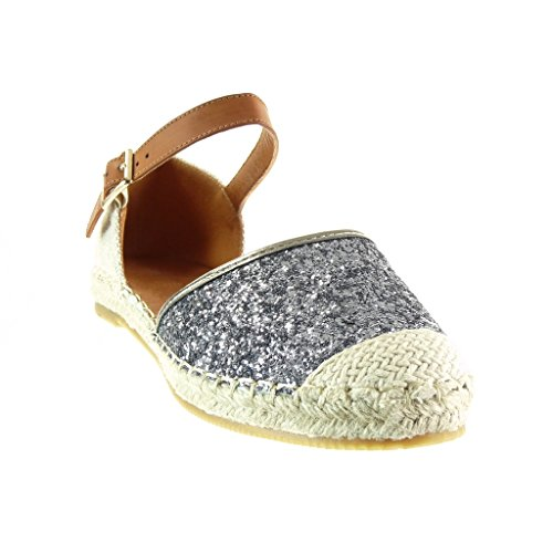 Angkorly - Chaussure Mode Espadrille Sandale Mary Jane ouverte femme pailettes strass diamant corde Talon plat 1 CM - Gris