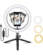 AmzKoi Ringlamp met statief van 10 inch, led-selfie-ringlamp met telefoonhouder, 3 verlichtingsmodi en 10 helderheidsniveaus, ringlamp voor make-up, live overdracht, fotografie, YouTube, TikTok