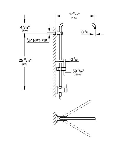 25 in retrofit 2function wallmount shower system