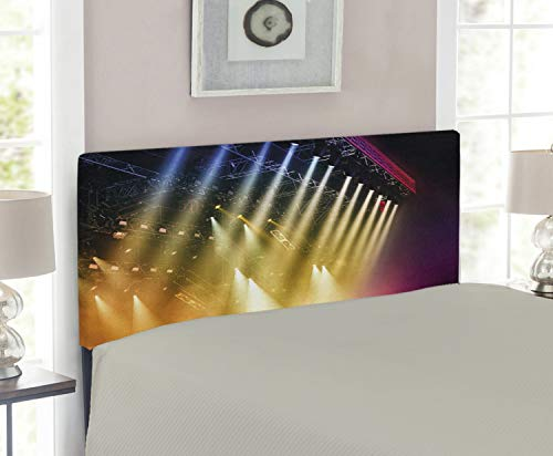 (Lunarable Musical Theatre Headboard, Colorful Rays Concert Dance Music Staging Technology Smoky Night Print, Upholstered Decorative Metal Headboard with Memory Foam, for Twin Size Bed, Multicolor)
