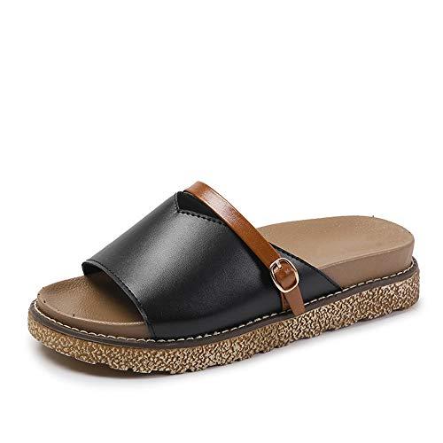 EU Sandales Flip 39 Confortable gâteau de Noir Sauvage Couleur Sauvage Plate 1 Noir Taille 3 Forme de Flop Yiwuhu Chaussures Plates HxpCwq1w