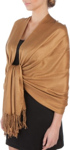 (Sakkas Large Soft Silky Pashmina Shawl Wrap Scarf Stole in Solid Colors - Bronze)