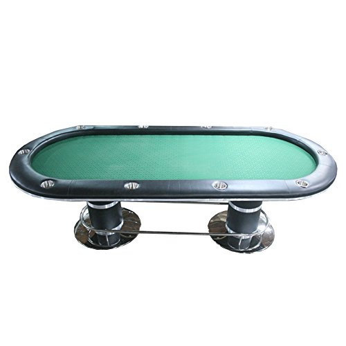 IDS Professional Solid Wood Poker Table With Sturdy foot Base 10 Players Dining Top, 96 '' L x 43'' W x 30'' H,- Oval Green