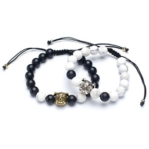 Karseer Yin Yang Matching Distance Bracelet Retro Dog Charm Couples Bracelets Black Onyx and White Howlite 8mm Beads Friendship Relations Bracelet Set 6.5
