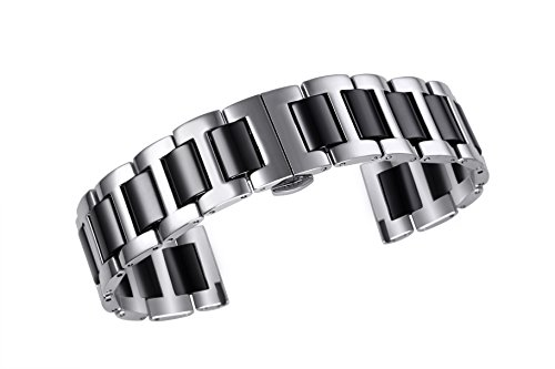- 18mm Solid Stainless Steel Ceramic Link Watch Band in Two Tone Silver and Black Straight End