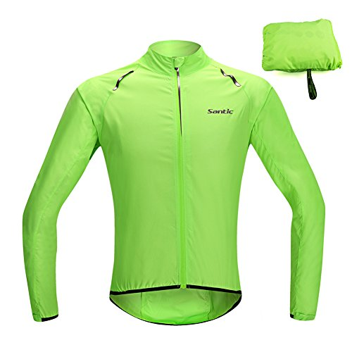 SANTIC Cycling Jacket, UPF30+ Men's Thin Cycling Skin Coat Water Resistant Bike Bicycle Jersey Wind Coat Sportswear (3XL)