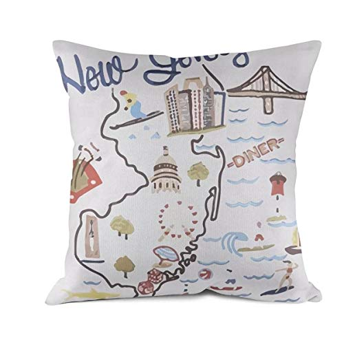 DDBBYLE Soft Cushion Cover Throw Pillow Covers New Jersey Decorative Pillow Cases Pillowcases Cotton Square Decoration Pillow Protectors Standard Size 18 X 18]()