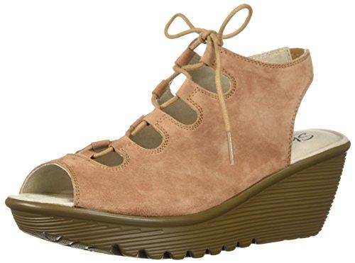 Skechers Women's Parallel Peep Toe Ghillie Slingback Wedge Sandal, Light Brown, 7 M US