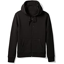 Amazon Essentials Men's Full-Zip Hooded Fleece Sweatshirt, Black, Large