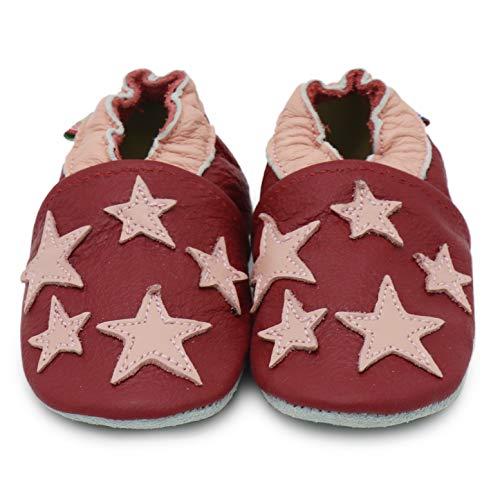 Da Pelle Stars Carozoo In Bambino Scuro Designs Pantofole Di Suola 16 Calzature Morbida 5 Rosso nWYxTErY7