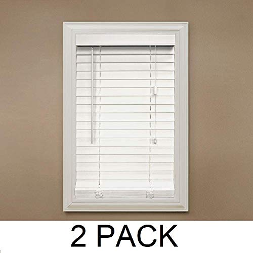 Home Decorators Collection White 2 in. Faux Wood Blind – 52 in. W x 48 in. L (Actual Size 51.5 in. W x 48 in. L) (2)