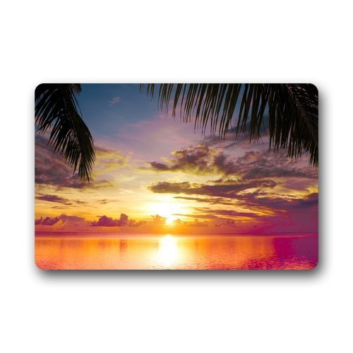 Roman's Doormat Personalize Decor Carpets ? Door Mats Beach Sunset Scene Doormats Top Fabric & Rubber Indoor Outdoor s Area Rugs Entryway Mats Non-slip Rubber Backing 23.6in by 15.7 in -