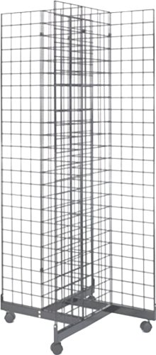 2' x 6' Grid Panel 4-Sided Floorstanding Display Fixture with Rolling Base. Chrome. by Metropolitan Display
