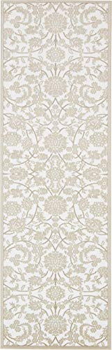 Unique Loom Rushmore Collection Traditional White Tone-on-Tone Snow White Runner Rug (3' 0 x 9' 10) (Rushmore 10)