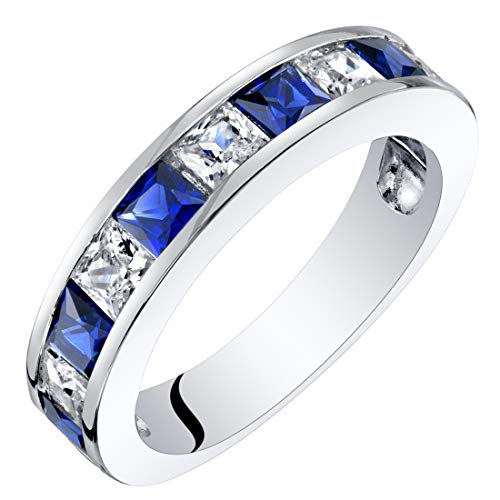Sterling Silver Princess Cut Created Sapphire Half Eternity Wedding Ring Band Size 5 ()