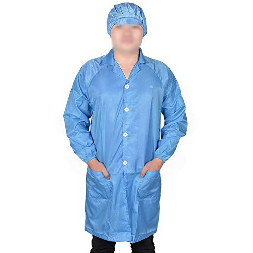 Men Women Blue Point Collar Anti Static Clean Room ESD Overall Gown w Cap XL By Fuxell
