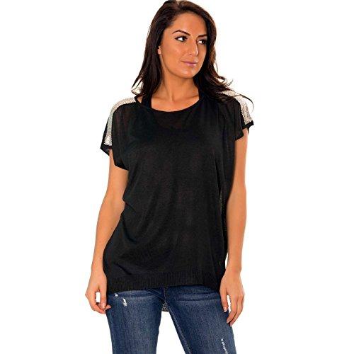 Noir Pull Wear Miss Manches sans Line T1YqP
