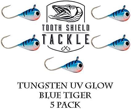 UV Glow Tungsten Ice Fishing Jigs Blue Tiger Crappie Bluegill Perch 4mm #14 Hook