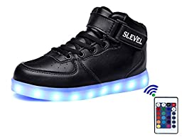 SLEVEL 16 Colors LED Light Up Shoes USB Flashing Sneakers for Kids Boys Girls(SS98Black28)