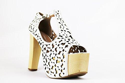 JEFFREY CAMPBELL AH551 sandali donna 41 EU pelle bianco