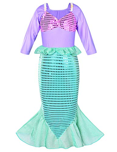 Girls Little Mermaid Costume Princess Dress Up For Birthday with Accessories(Crown+Wand) 4T 5T(110cm) by Party Chili (Image #4)