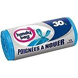Handy Bag 3 Rouleaux de 15 Sacs Poubelle 30 L, Poignées à Nouer, Fermeture Hermétique, Anti-Fuites, 50 x 70, 5 cm, Bleu, Opaque