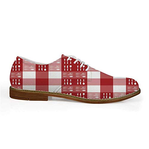 Checkered Stylish Leather Shoes,Cutlery Silhouettes on Squares Dining Picnic Themed Tile Spoons Forks Knives Decorative for Men,US 8