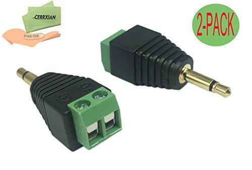 Cerrxian 3.5mm TS Mono Male to 2 Pin Screw Terminal Female AUX Headphone Balum Converter Adapter (2-Pack)
