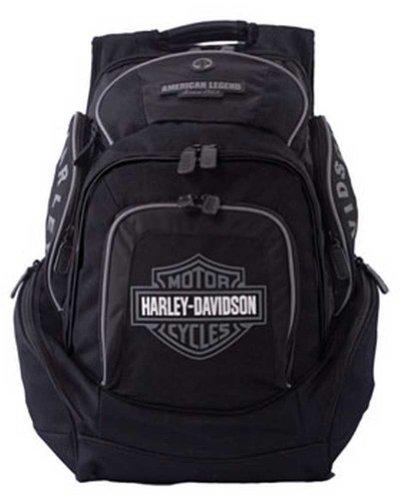 (Harley-Davidson Mens Deluxe Backpack BP1900S-GRYBLK)