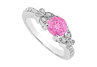 8d4ef94903b92 Pink Sapphire and Diamond Engagement Ring 14K White Gold 0.66 CT TG ...