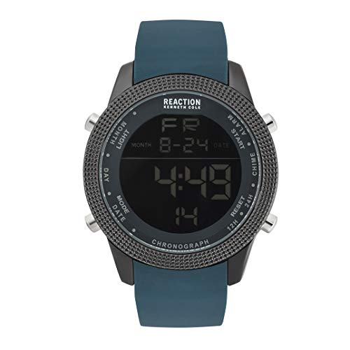 Kenneth Cole REACTION Male Analog-Quartz Watch with Silicone Strap, Silver, 22 (Model: RK50548002)
