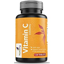 High Strength Vitamin C 1000mg – 120 Tablets – Easy to Dissolve – Supports Maintenance of Immune System – Made in UK by…