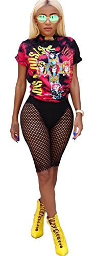Womens Sexy 2 Pieces Printed Hip Hop Punk Prinetd T-shirts Tops Bodycon Fishnet Shorts Party Clubwear Set by Recious