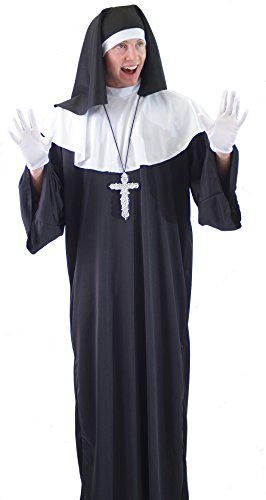 Sister Act-Monty Python-Stag Nights-Fancy Dress MALE NUN with SILVER CROSS & GLOVES - From Teen to XXXXL (Funny Cross Dressing Costumes)