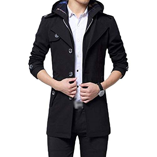 Long Hooded Casual Apparel Thicken Schwarz with Coat Trench Jacket Slim Warm Fit Men's Parka Outwear Coat Chic Detachable q87UXU
