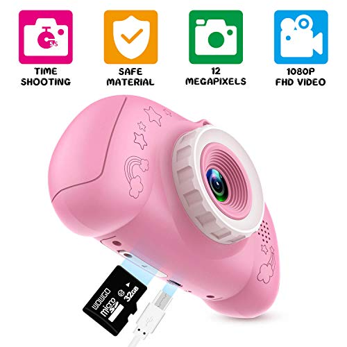 WOWGO Digital Camera for Kids, 1080P Rechargeable Electronic Children Camera Birthday Toy Gift with 32GB TF Card for Toddler and Age 3 to 12 Years Boys and Girls (Pink)