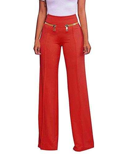 Donna Elegante Pantaloni A Palazzo Vita Alta Lungo Pantalone Lungo Con Cerniera Rosso