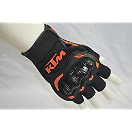 PINZU Bike Riding Half Finger KTM Gloves (Set of 2) Black