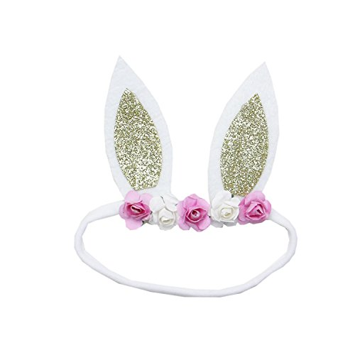 (Kirei Sui Baby Pink White Rose Silver Gold Easter Bunny Ears Headband)