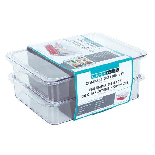 Evriholder Kitchen Spaces KSDB12-AMZ Compact Deli Bins Stackable Food Storage Organizer for Fridge, Freezer, and Pantry, 8.7
