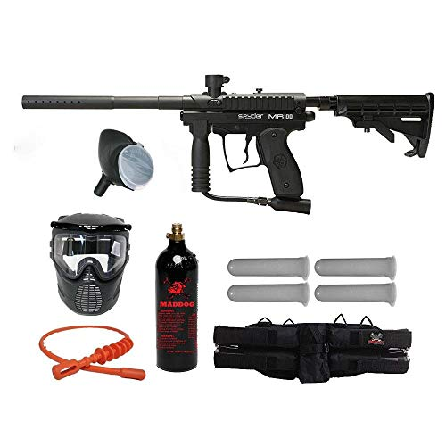 MAddog Kingman Spyder MR100 Silver Paintball Gun Package - Diamond Black