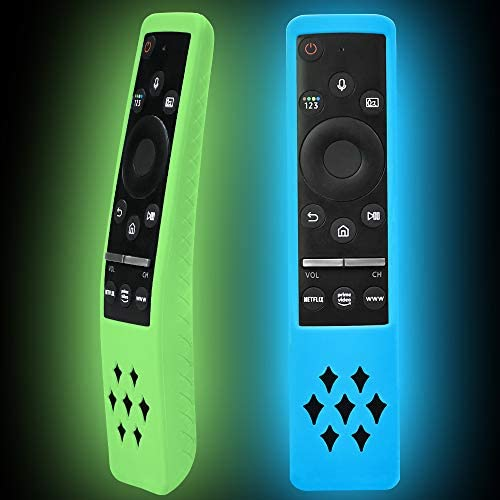 2 Pack Silicone Protective Case Compatible for Samsung New Smart TV Remote Controller BN59 Series, Shockproof Glowing Remote Cover Anti Slip Curved Samsung Remote Battery Back Skin Sleeve Protector
