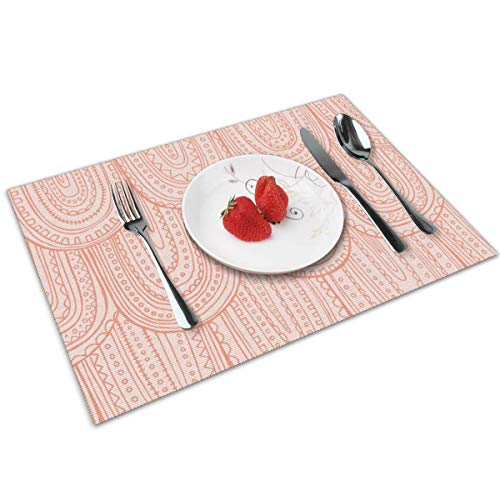 Luase Inscribed Blush Pink Tonal Regular Scale Table Placemats for Dining Table,Washable Placemat Heat-Resistant Set of 6(12X18 inch)