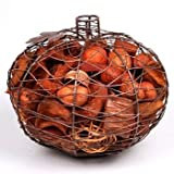 Jodhpuri Decorative Wire Pumpkin Potpourri Holder-Cinnamon