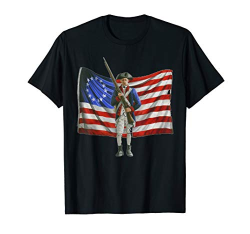 Colonial Flag 4th of July Independence Day American Eagle T-Shirt]()
