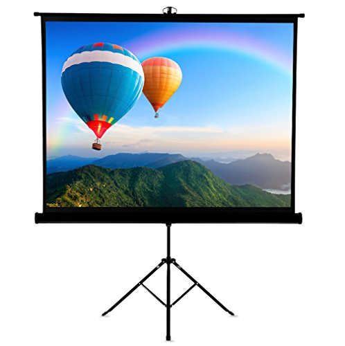 Famirosa Projector Screen with Foldable Stand Tripod,120 Inch Diagonal HD 4:3 Pull Up Portable Indoor Outdoor Movie Projection Screens,for Home Theater Cinema Party Office Presentation ()