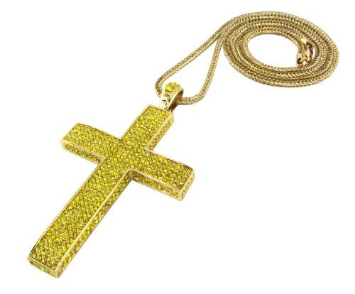 - Iced Out Yellow Canary 3D Cross Pendant Piece w/ 30