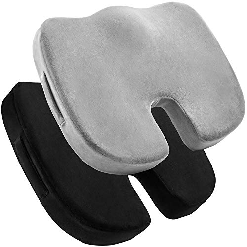 2 Pack Seat Cushions – Memory Foam Tailbone Pillow Pad for Sitting, Office, Computer Desk Chair, Car, Travel – Contoured Posture Corrector for Sciatica, Coccyx Back Pain Relief (Black and Grey)